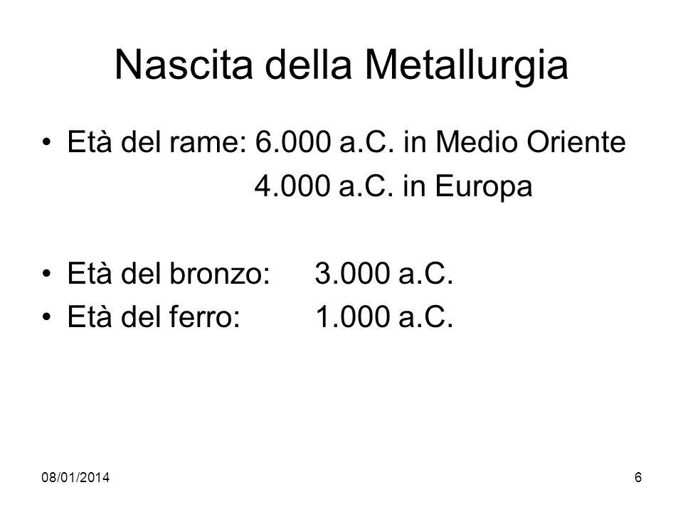 08/01/20146 Nascita della Metallurgia Età del rame: 6.000 a.C. in Medio Oriente 4.000 a.C. in Europa Età del bronzo: 3.000 a.C. Età del ferro:1.000 a.