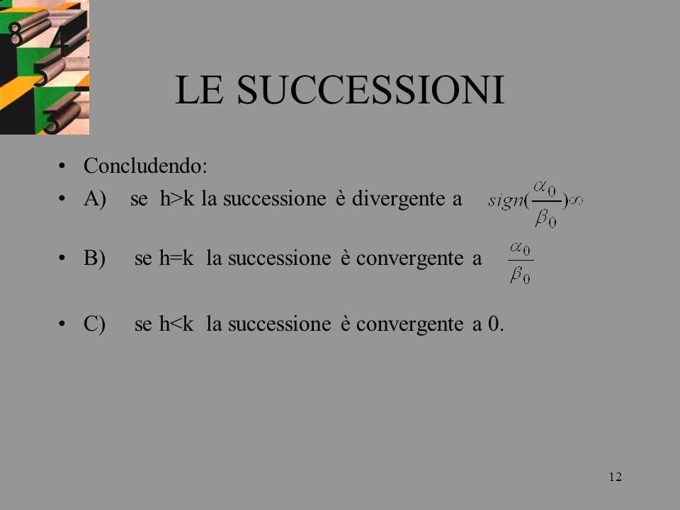 12 LE SUCCESSIONI Concludendo: A) se h>k la successione è divergente a B) se h=k la successione è convergente a C) se h<k la successione è convergente