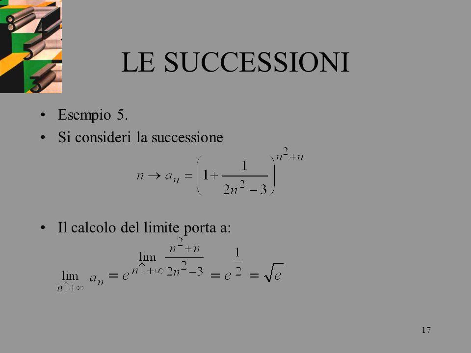 17 LE SUCCESSIONI Esempio 5. Si consideri la successione Il calcolo del limite porta a: