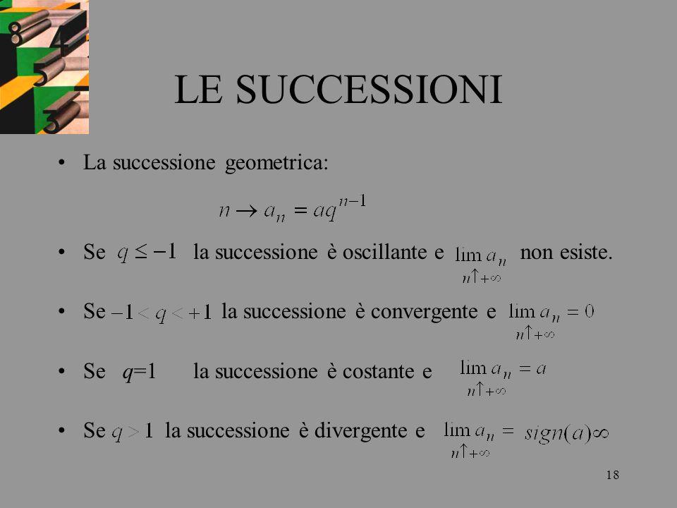 18 LE SUCCESSIONI La successione geometrica: Sela successione è oscillante e non esiste. Se la successione è convergente e Se q=1la successione è cost