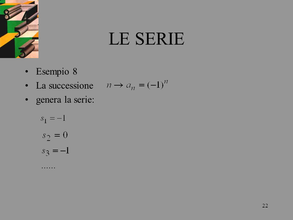 22 LE SERIE Esempio 8 La successione genera la serie: