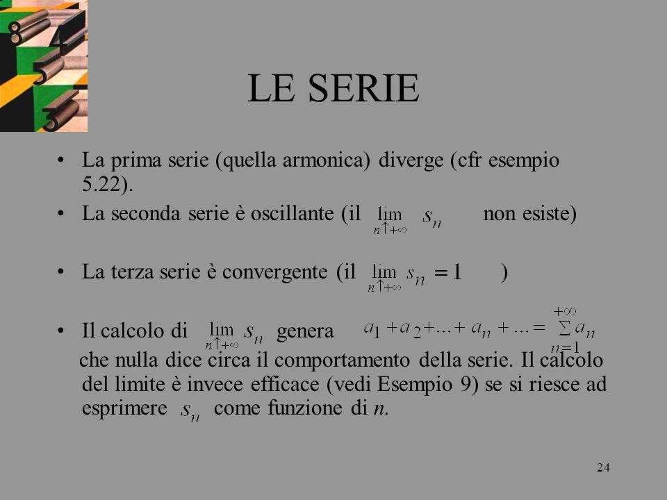 24 LE SERIE La prima serie (quella armonica) diverge (cfr esempio 5.22). La seconda serie è oscillante (il non esiste) La terza serie è convergente (i
