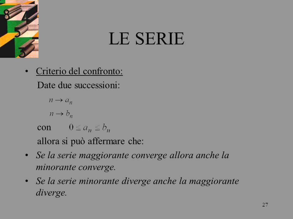 27 LE SERIE Criterio del confronto: Date due successioni: con allora si può affermare che: Se la serie maggiorante converge allora anche la minorante
