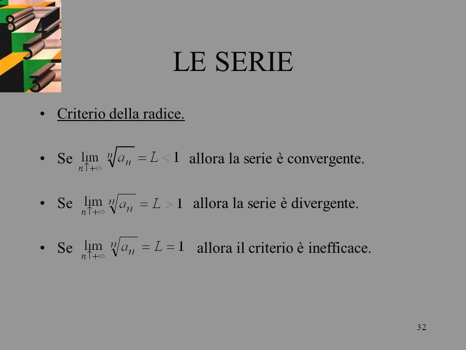 32 LE SERIE Criterio della radice. Se allora la serie è convergente. Se allora la serie è divergente. Se allora il criterio è inefficace.