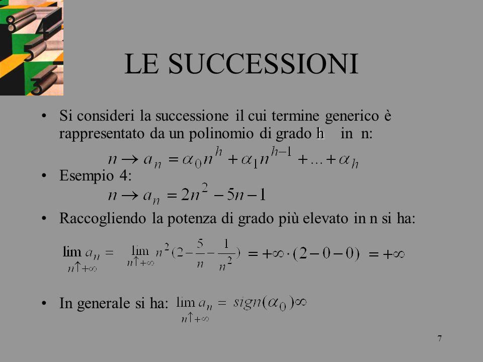 7 LE SUCCESSIONI hSi consideri la successione il cui termine generico è rappresentato da un polinomio di grado h in n: Esempio 4: Raccogliendo la pote
