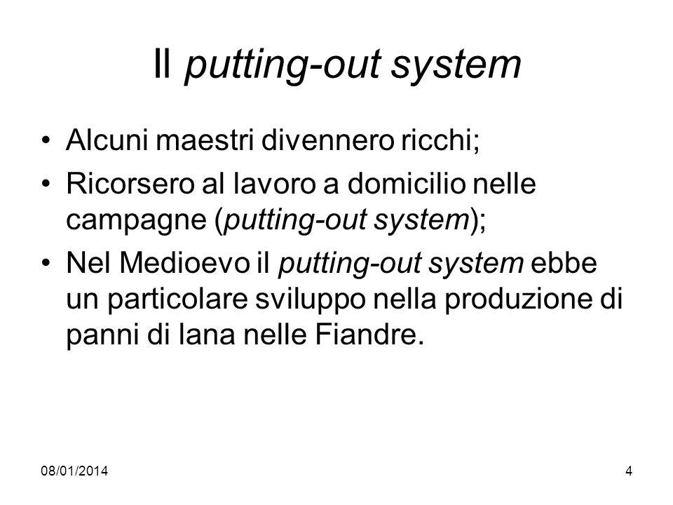 08/01/20144 Il putting-out system Alcuni maestri divennero ricchi; Ricorsero al lavoro a domicilio nelle campagne (putting-out system); Nel Medioevo i