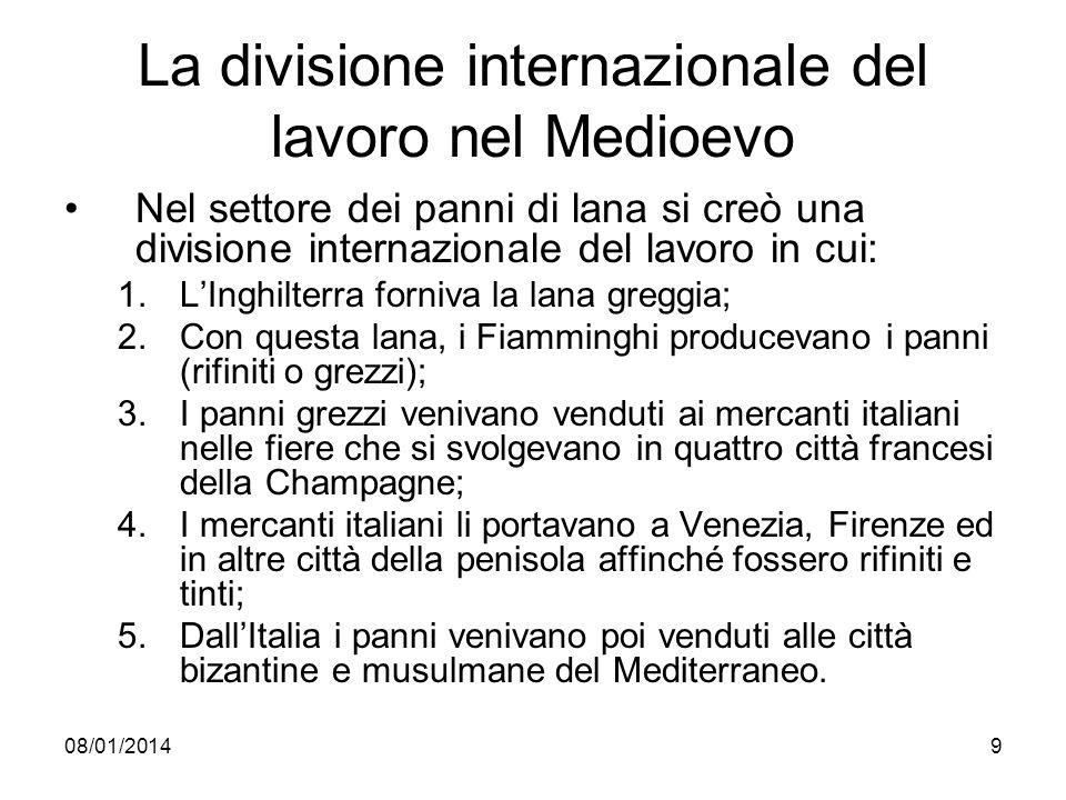 08/01/20149 La divisione internazionale del lavoro nel Medioevo Nel settore dei panni di lana si creò una divisione internazionale del lavoro in cui: