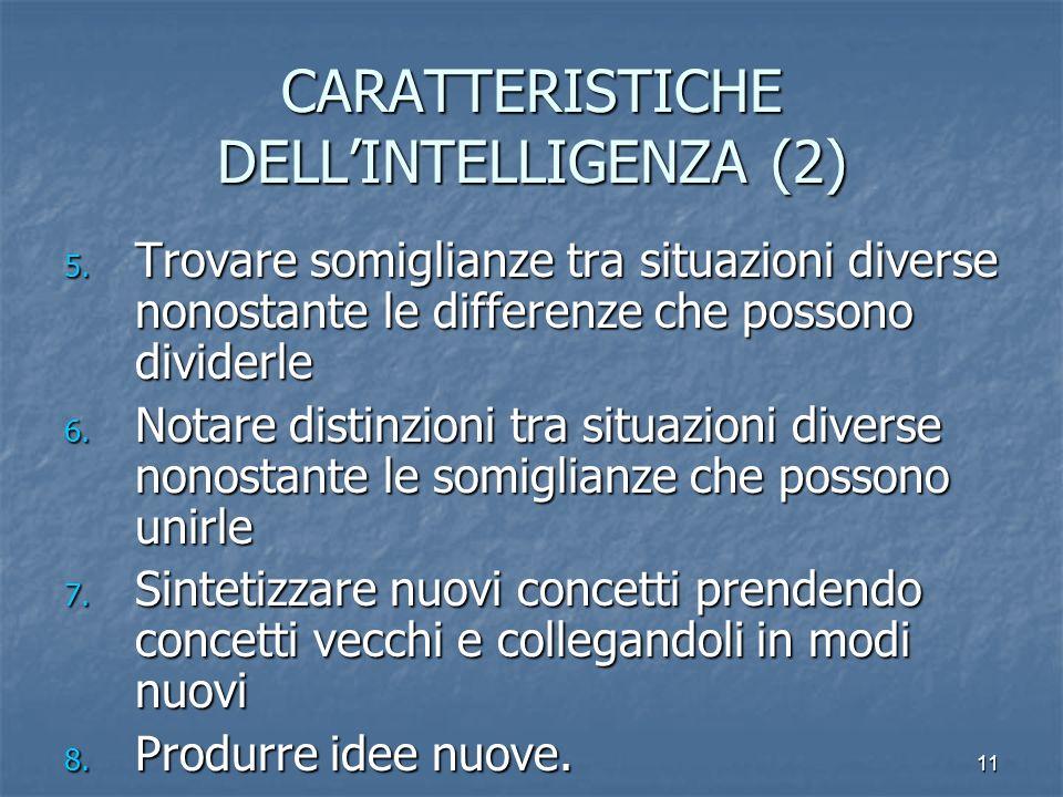 11 CARATTERISTICHE DELLINTELLIGENZA (2) 5. Trovare somiglianze tra situazioni diverse nonostante le differenze che possono dividerle 6. Notare distinz