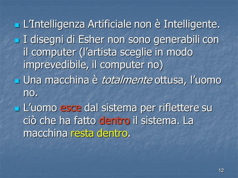 12 LIntelligenza Artificiale non è Intelligente. LIntelligenza Artificiale non è Intelligente. I disegni di Esher non sono generabili con il computer