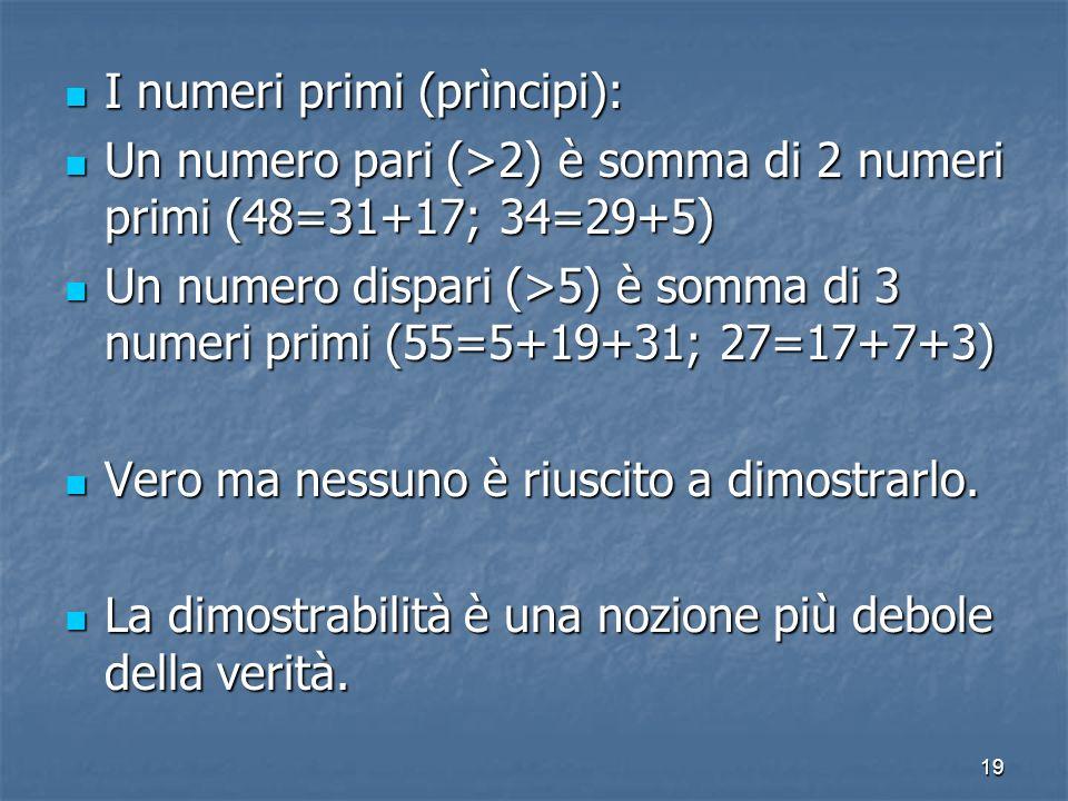 19 I numeri primi (prìncipi): I numeri primi (prìncipi): Un numero pari (>2) è somma di 2 numeri primi (48=31+17; 34=29+5) Un numero pari (>2) è somma di 2 numeri primi (48=31+17; 34=29+5) Un numero dispari (>5) è somma di 3 numeri primi (55=5+19+31; 27=17+7+3) Un numero dispari (>5) è somma di 3 numeri primi (55=5+19+31; 27=17+7+3) Vero ma nessuno è riuscito a dimostrarlo.