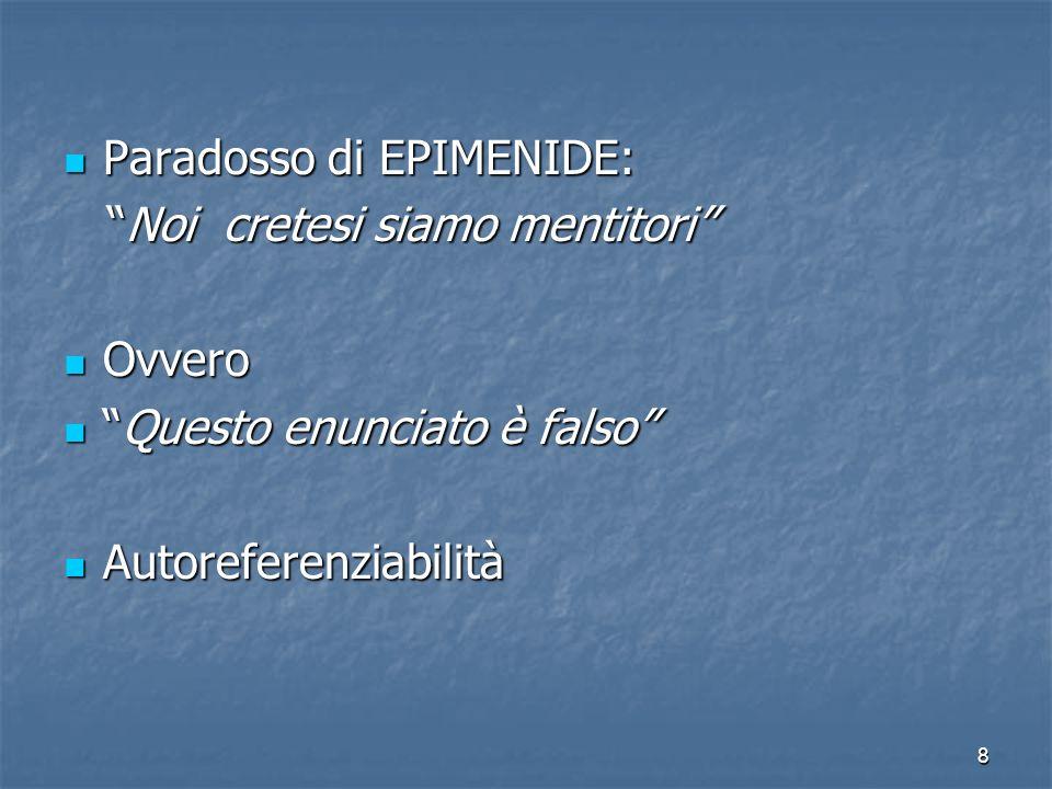 8 Paradosso di EPIMENIDE: Paradosso di EPIMENIDE: Noi cretesi siamo mentitori Noi cretesi siamo mentitori Ovvero Ovvero Questo enunciato è falsoQuesto enunciato è falso Autoreferenziabilità Autoreferenziabilità