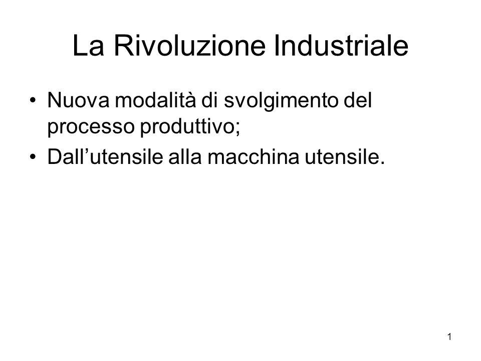 1 La Rivoluzione Industriale Nuova modalità di svolgimento del processo produttivo; Dallutensile alla macchina utensile.