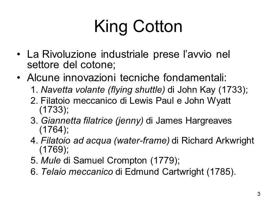3 King Cotton La Rivoluzione industriale prese lavvio nel settore del cotone; Alcune innovazioni tecniche fondamentali: 1. Navetta volante (flying shu