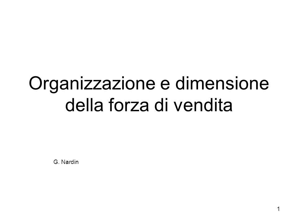 1 Organizzazione e dimensione della forza di vendita G. Nardin