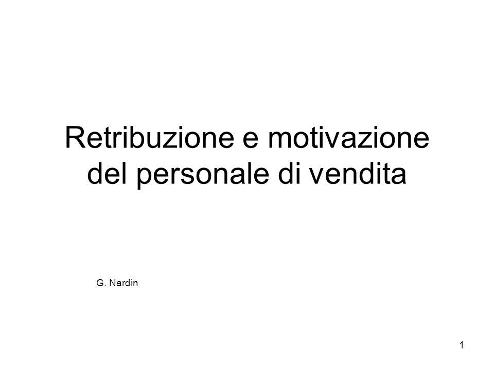 1 Retribuzione e motivazione del personale di vendita G. Nardin