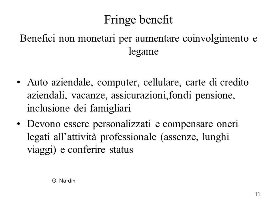 11 Fringe benefit Benefici non monetari per aumentare coinvolgimento e legame Auto aziendale, computer, cellulare, carte di credito aziendali, vacanze