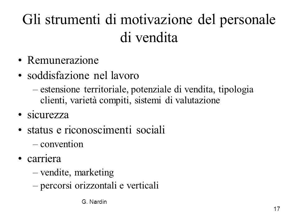 17 Gli strumenti di motivazione del personale di vendita Remunerazione soddisfazione nel lavoro –estensione territoriale, potenziale di vendita, tipol