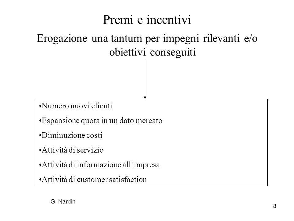 8 Premi e incentivi Erogazione una tantum per impegni rilevanti e/o obiettivi conseguiti Numero nuovi clienti Espansione quota in un dato mercato Dimi