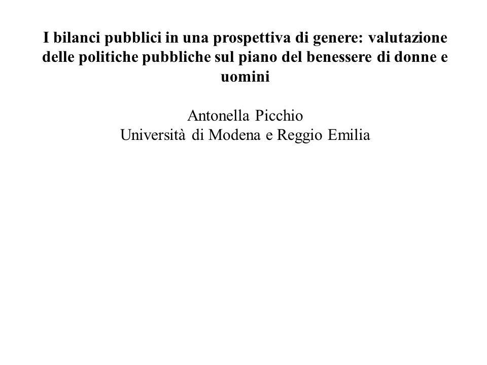I bilanci pubblici in una prospettiva di genere: valutazione delle politiche pubbliche sul piano del benessere di donne e uomini Antonella Picchio Uni