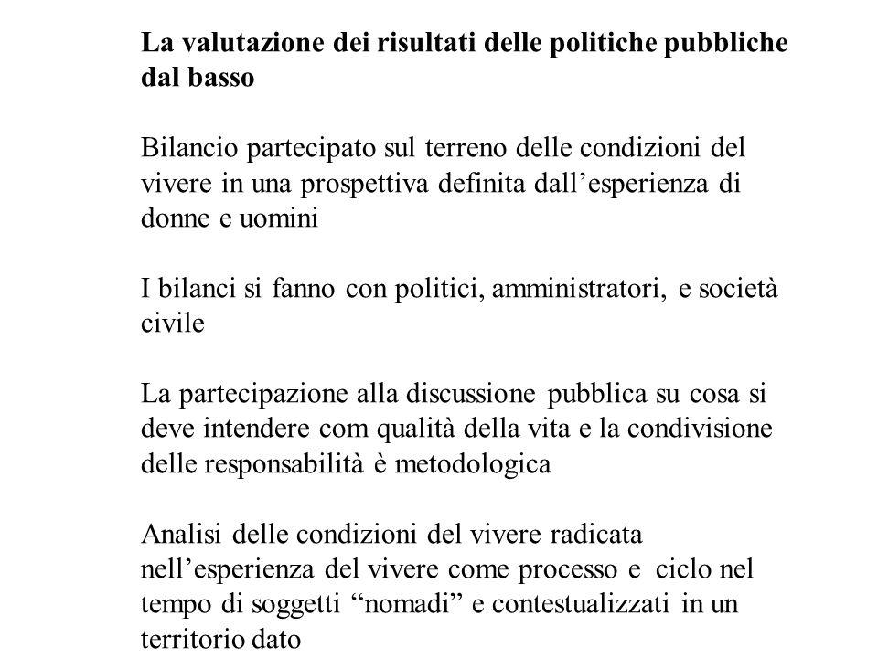 La valutazione dei risultati delle politiche pubbliche dal basso Bilancio partecipato sul terreno delle condizioni del vivere in una prospettiva defin