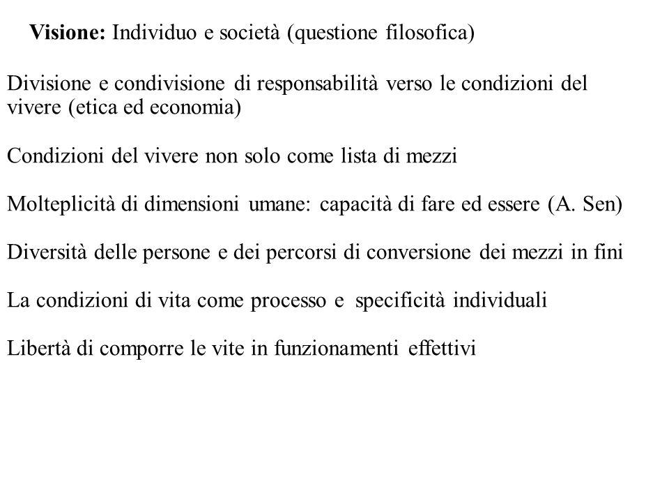 Visione: Individuo e società (questione filosofica) Divisione e condivisione di responsabilità verso le condizioni del vivere (etica ed economia) Cond
