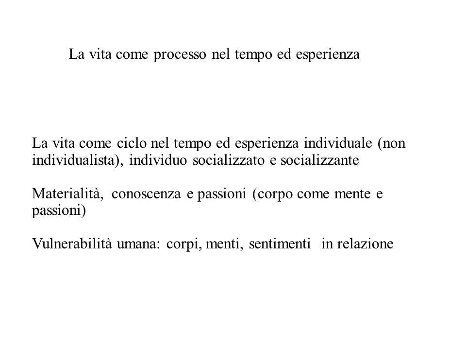 La vita come ciclo nel tempo ed esperienza individuale (non individualista), individuo socializzato e socializzante Materialità, conoscenza e passioni