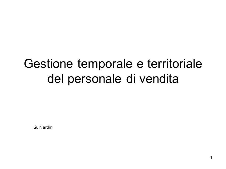 1 Gestione temporale e territoriale del personale di vendita G. Nardin