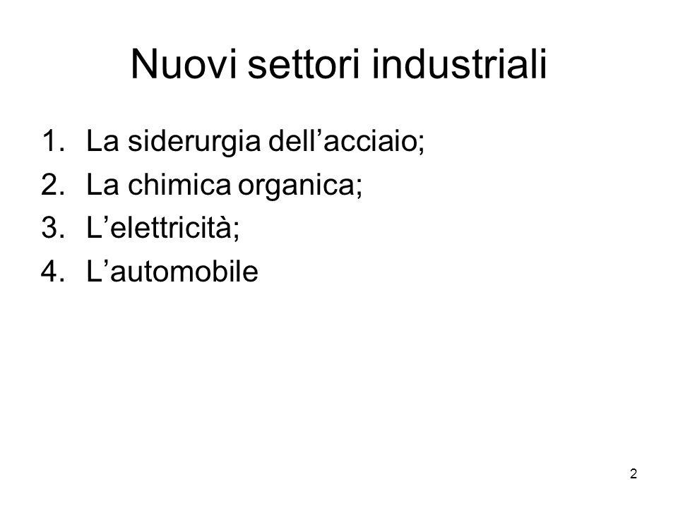 2 Nuovi settori industriali 1.La siderurgia dellacciaio; 2.La chimica organica; 3.Lelettricità; 4.Lautomobile
