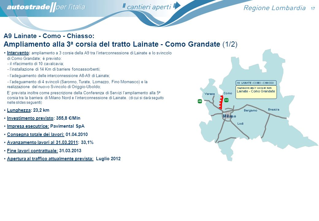 Intervento: ampliamento a 3 corsie della A9 tra linterconnessione di Lainate e lo svincolo di Como Grandate; è previsto: - il rifacimento di 10 cavalc