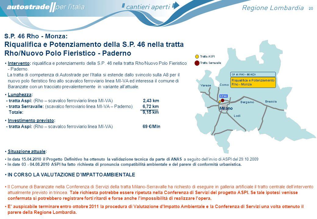 S.P. 46 Rho - Monza: Riqualifica e Potenziamento della S.P. 46 nella tratta Rho/Nuovo Polo Fieristico - Paderno Situazione attuale: In data 15.04.2010