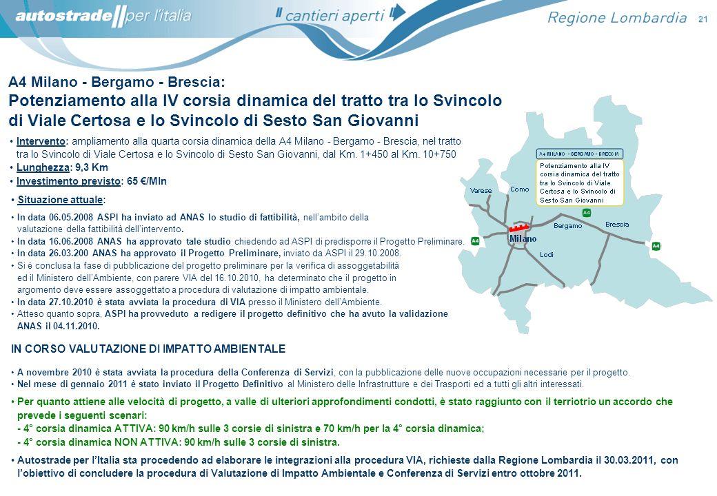 Intervento: ampliamento alla quarta corsia dinamica della A4 Milano - Bergamo - Brescia, nel tratto tra lo Svincolo di Viale Certosa e lo Svincolo di
