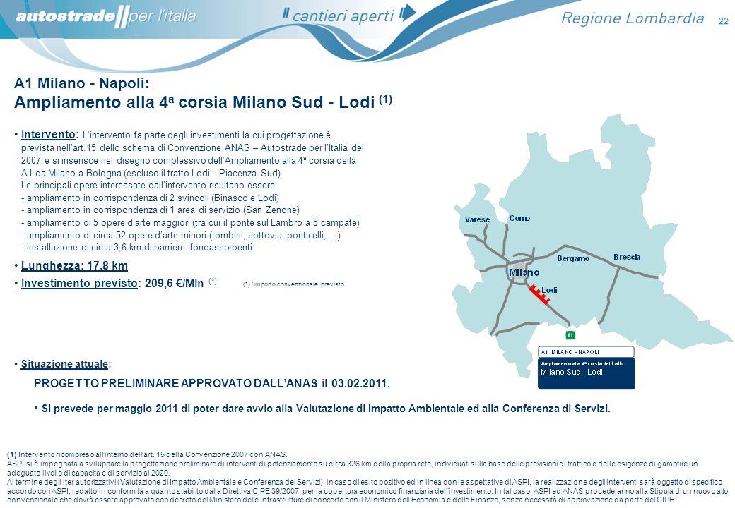 22 A1 Milano - Napoli: Ampliamento alla 4 a corsia Milano Sud - Lodi (1) Intervento: L'intervento fa parte degli investimenti la cui progettazione è p