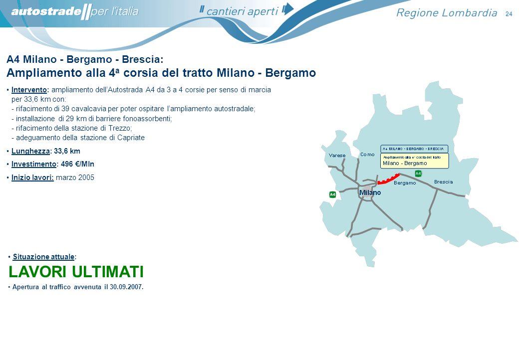 A4 Milano - Bergamo - Brescia: Ampliamento alla 4 a corsia del tratto Milano - Bergamo Intervento: ampliamento dellAutostrada A4 da 3 a 4 corsie per s
