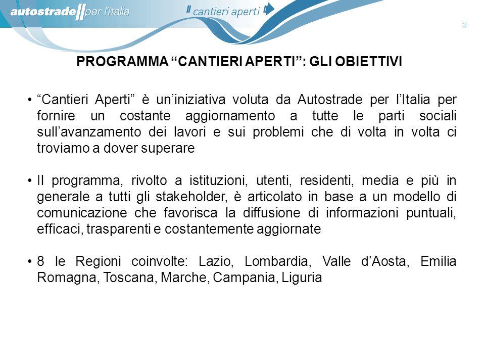 13 A1 Milano-Napoli: Variante di Valico Badia Nuova – Aglio Lotto 12 e Svincolo di Barberino Situazione attuale : I lavori proseguono regolarmente.