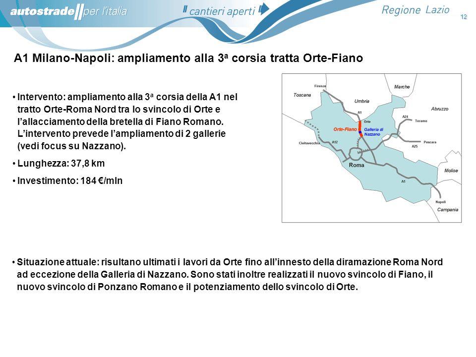 A1 Milano-Napoli: ampliamento alla 3 a corsia tratta Orte-Fiano Situazione attuale: risultano ultimati i lavori da Orte fino allinnesto della diramazi