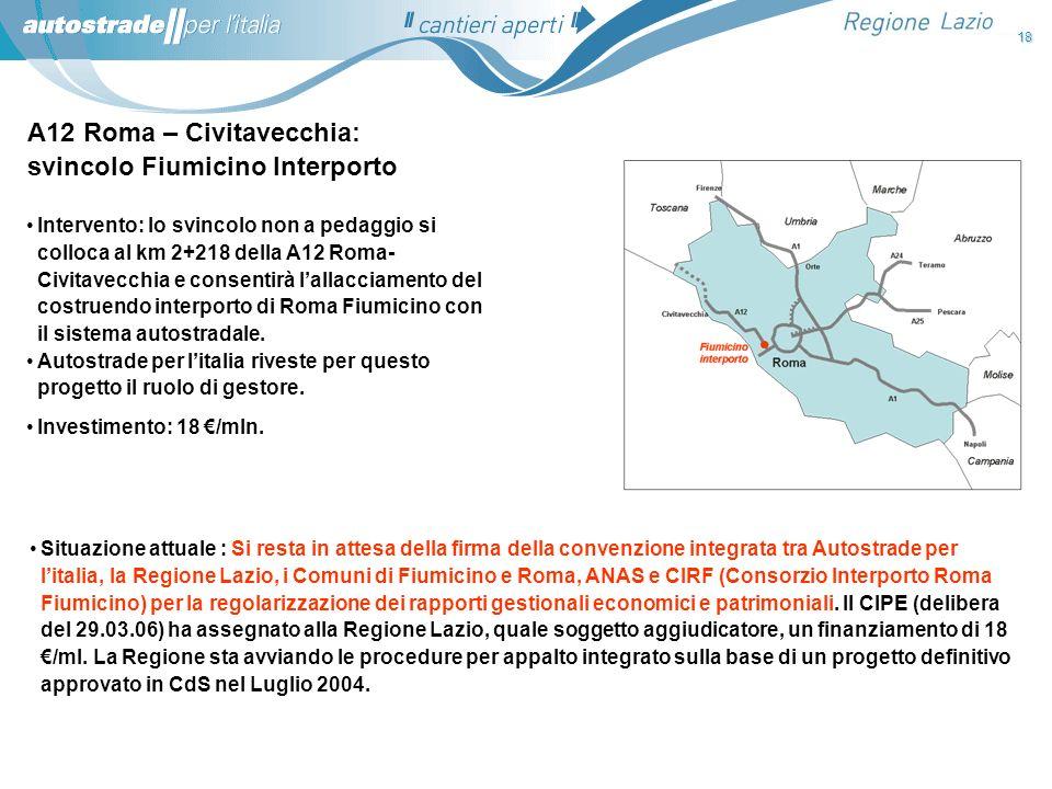 A12 Roma – Civitavecchia: svincolo Fiumicino Interporto Situazione attuale : Si resta in attesa della firma della convenzione integrata tra Autostrade