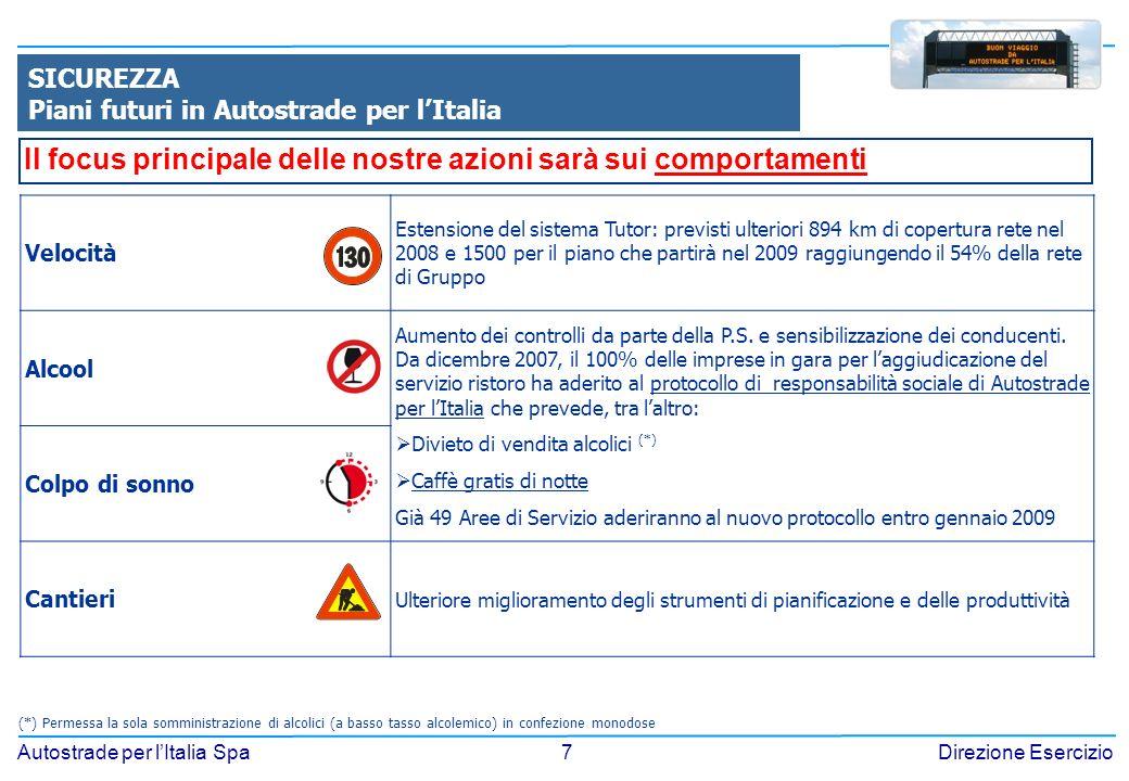 7 Autostrade per lItalia SpaDirezione Esercizio SICUREZZA Piani futuri in Autostrade per lItalia Velocità Estensione del sistema Tutor: previsti ulter