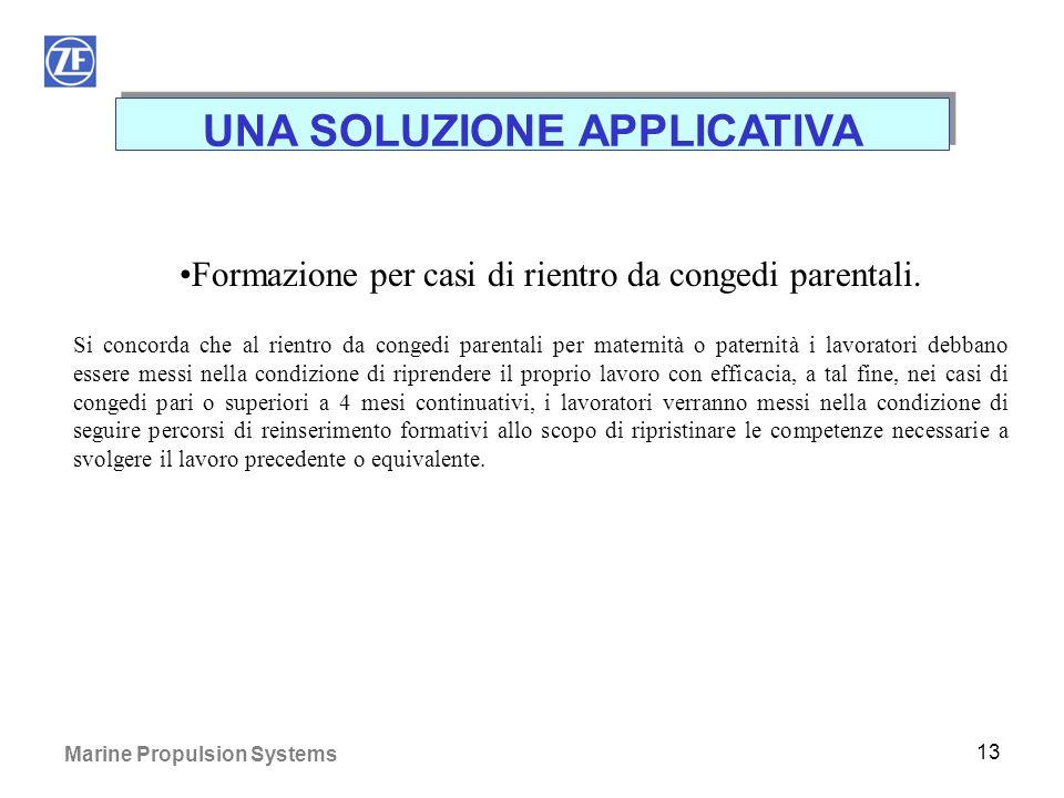 Marine Propulsion Systems 12 UNA SOLUZIONE APPLICATIVA Trattamento fine rapporto (TFR) per i casi di aspettativa non retribuita da L. 53/2000. Viene r