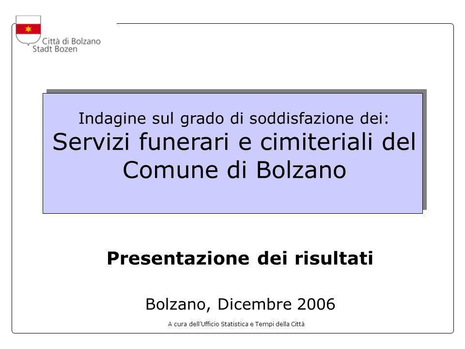 A cura dellUfficio Statistica e Tempi della Città Indagine sul grado di soddisfazione dei: Servizi funerari e cimiteriali del Comune di Bolzano Presen