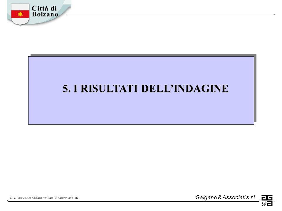 Galgano & Associati s.r.l. ULL Comune di Bolzano risultati CS edilizia-e63 10 5. I RISULTATI DELLINDAGINE