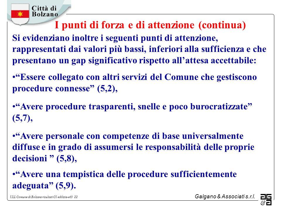 Galgano & Associati s.r.l. ULL Comune di Bolzano risultati CS edilizia-e63 22 Si evidenziano inoltre i seguenti punti di attenzione, rappresentati dai
