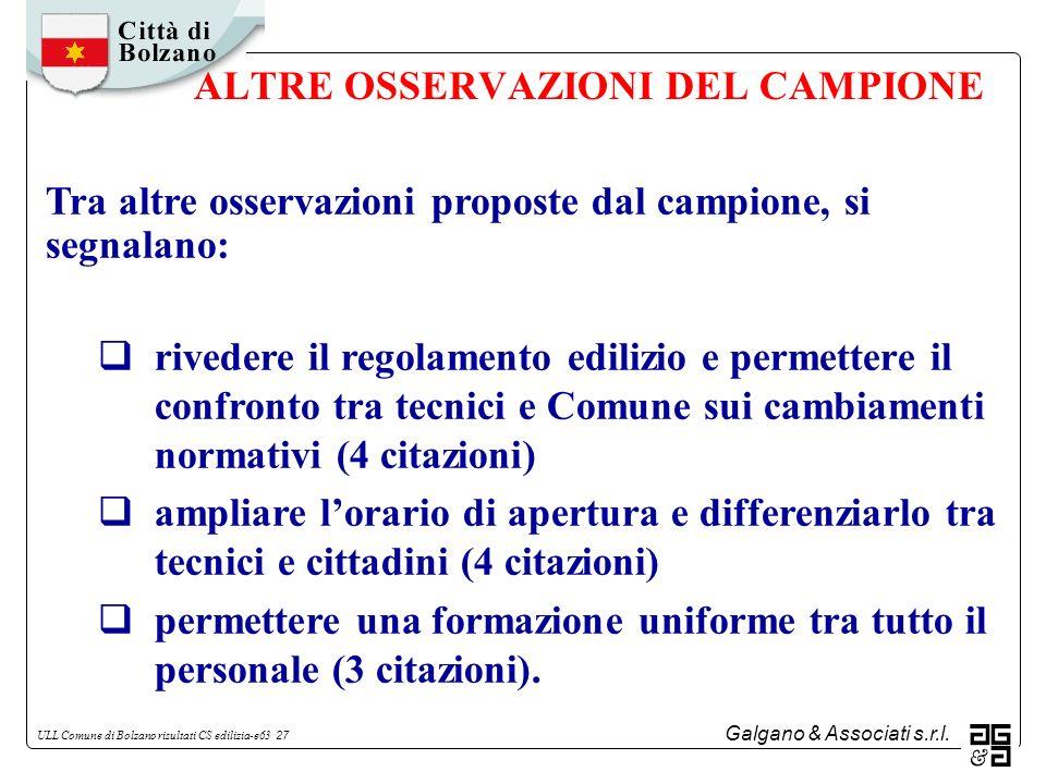 Galgano & Associati s.r.l. ULL Comune di Bolzano risultati CS edilizia-e63 27 ALTRE OSSERVAZIONI DEL CAMPIONE Tra altre osservazioni proposte dal camp