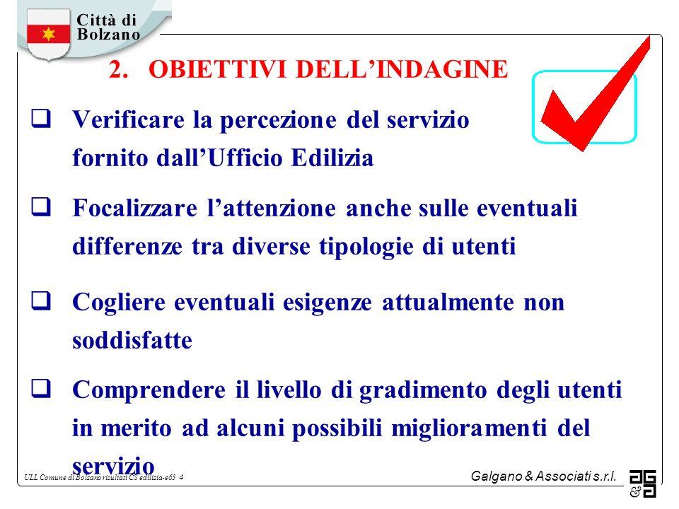 Galgano & Associati s.r.l. ULL Comune di Bolzano risultati CS edilizia-e63 4 2. OBIETTIVI DELLINDAGINE Verificare la percezione del servizio fornito d
