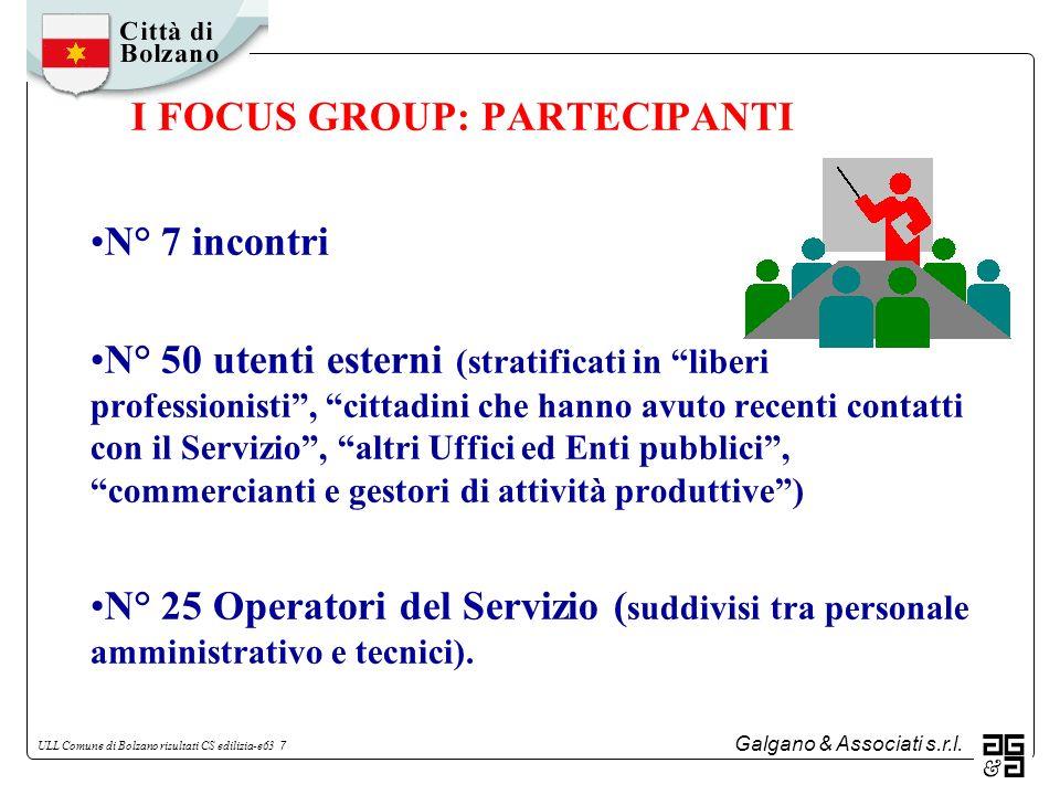 Galgano & Associati s.r.l. ULL Comune di Bolzano risultati CS edilizia-e63 7 I FOCUS GROUP: PARTECIPANTI N° 7 incontri N° 50 utenti esterni (stratific