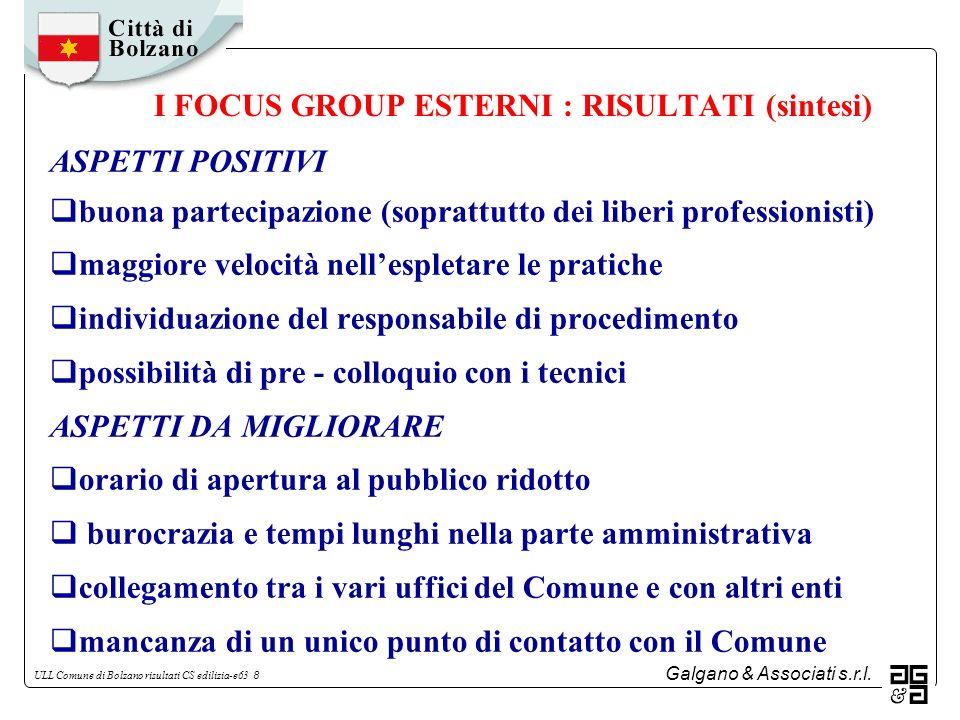 Galgano & Associati s.r.l. ULL Comune di Bolzano risultati CS edilizia-e63 8 I FOCUS GROUP ESTERNI : RISULTATI (sintesi) ASPETTI POSITIVI buona partec