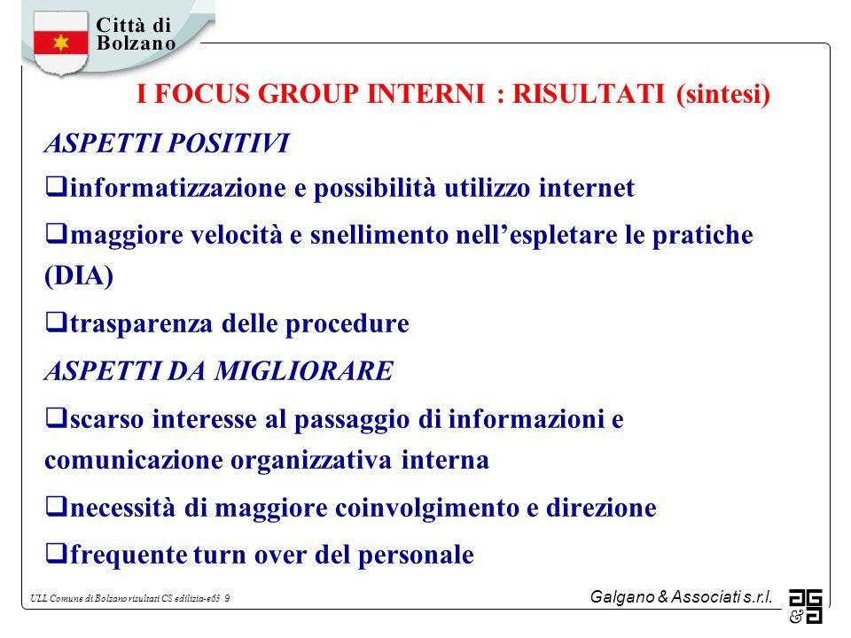 Galgano & Associati s.r.l. ULL Comune di Bolzano risultati CS edilizia-e63 9 I FOCUS GROUP INTERNI : RISULTATI (sintesi) ASPETTI POSITIVI informatizza