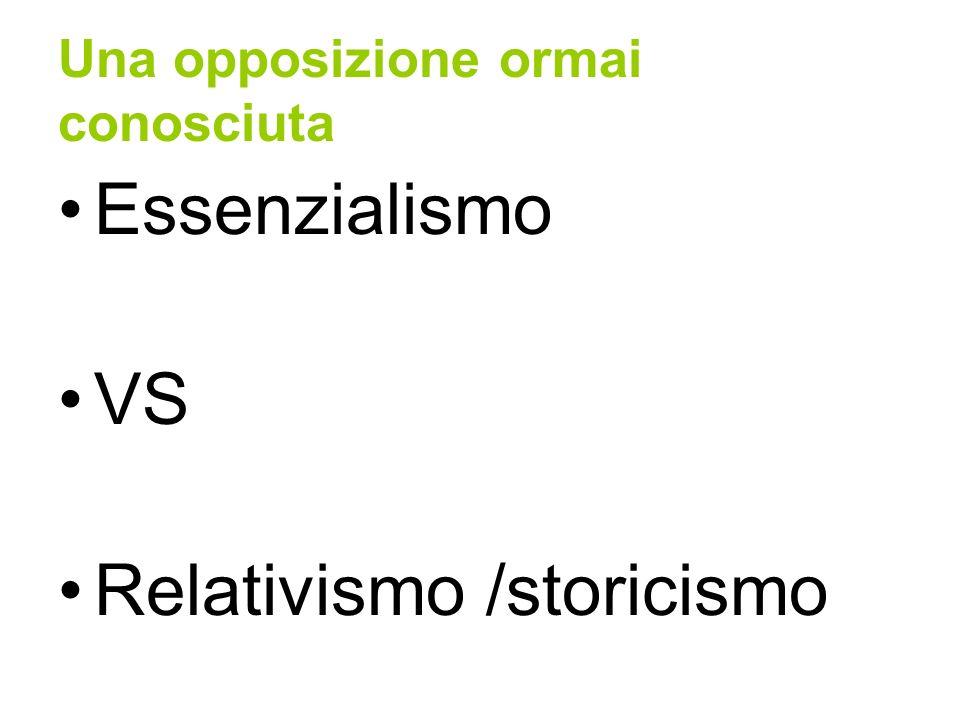 Una opposizione ormai conosciuta Essenzialismo VS Relativismo /storicismo