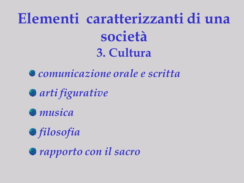 Elementi caratterizzanti di una società 3. Cultura comunicazione orale e scritta arti figurative musica filosofia rapporto con il sacro