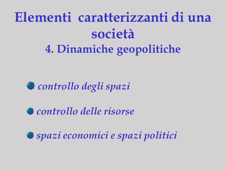 Elementi caratterizzanti di una società 4. Dinamiche geopolitiche controllo degli spazi controllo delle risorse spazi economici e spazi politici