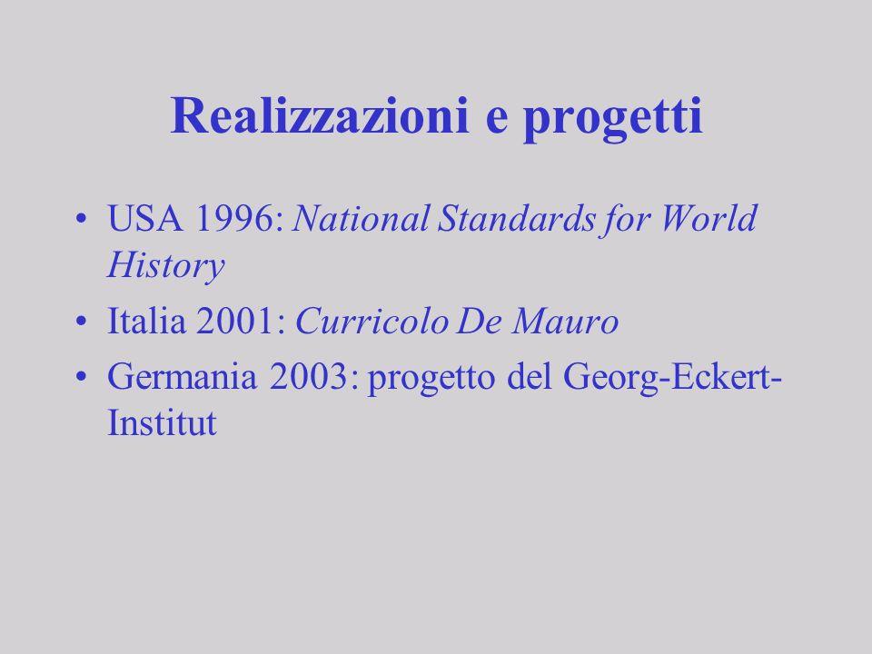 Realizzazioni e progetti USA 1996: National Standards for World History Italia 2001: Curricolo De Mauro Germania 2003: progetto del Georg-Eckert- Inst
